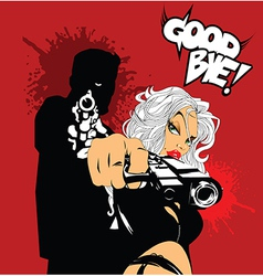 Blonde woman with gun vector