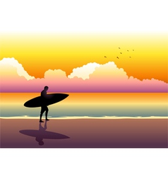 Surfer at the beach vector