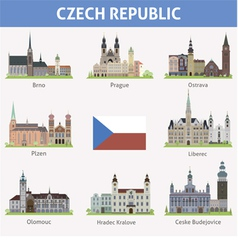 Czech symbols of cities vector