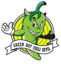 Green hot chili devil cartoon vector