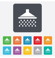 Shower sign icon douche with water drops symbol vector