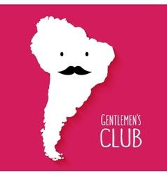 Fun mustache club cartoon south america map vector
