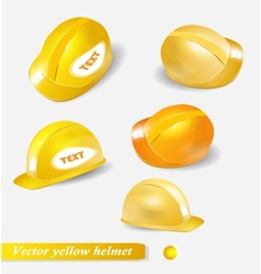 Yellow helmet set isolated object vector