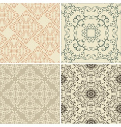 Vintage floral seamless patterns vector