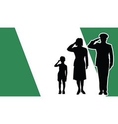 Nigeria soldier family salute vector