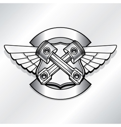 Biker logo  motor club piston vector