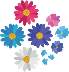 Simple flower daisy collection isolated on white vector