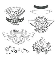 Set of biker vintage labels oldschool motor logo vector