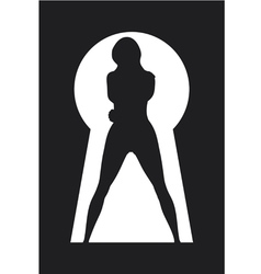 Silhouette of a woman figure seen in a key hole vector