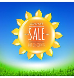 Summer sale banner with sun vector