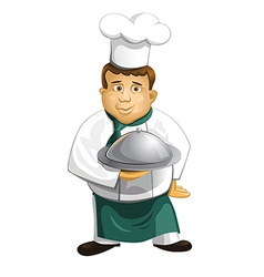 Chef in uniform with metal cloche isolated vector