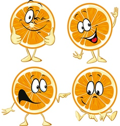 Funny orange cartoon wit hands and legs isolated vector