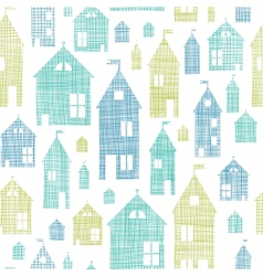 Houses blue green textile texture seamless pattern vector