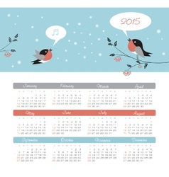 Calendar 2015 year with birds vector