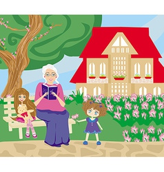 Grandmother and granddaughter in the garden vector