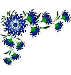 Border of blue flowers and leaves eps10 vector