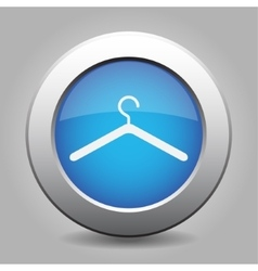 Blue metal button with hanger vector
