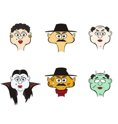 Comic characters people and monsters vector
