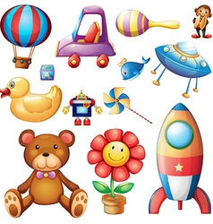 Set of different toys vector