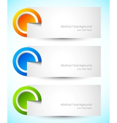 Set of banners with cut paper circles vector