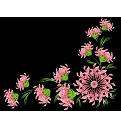 The pattern of red flowers and leaves on black vector