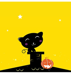 Black halloween cat silhouette on the night roof vector