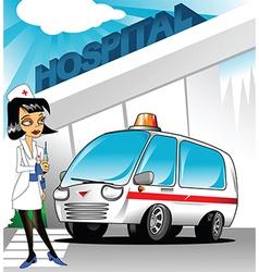 Nurse outside hospital vector