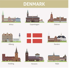 Denmark symbols of cities vector