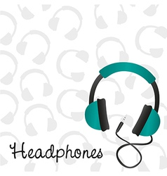 Headphones turquoise background pattern on headpho vector