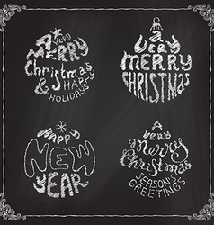 Chalk a very merry christmas and happy new year vector