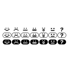 Black and white pixel smiles set vector