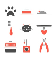 Set of pets icons cat symbols vector