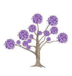 Abstract purple flowers on tree vector