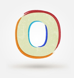 Alphabet letter o watercolor paint design element vector