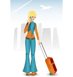 Cartoon girl with bag speaking on mobile and vector