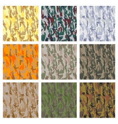 Set of seamless camouflage patterns vector