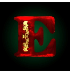 Velvet e letter with gold vector
