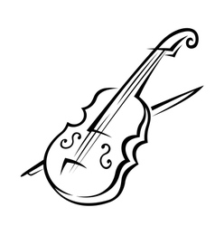 Violin and bow vector