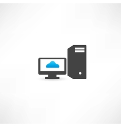 Black computer with cloud on display vector