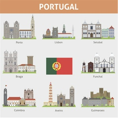 Portugal symbols of cities vector