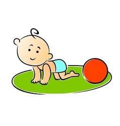 Little baby crawling on hands and knees vector