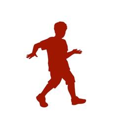Silhouette of little boy vector