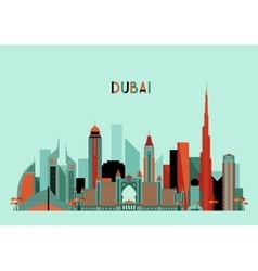 Dubai city skyline silhouette flat design trendy vector