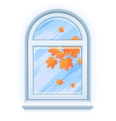 Window with yellow autumn vector