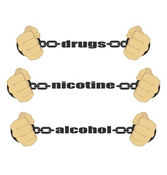 Drugs nicotine alcohol signs vector