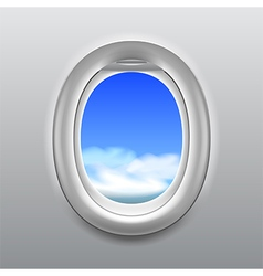 Sky in aircraft window background vector