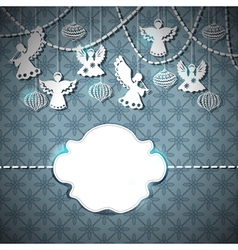 Christmas card with paper angels vector