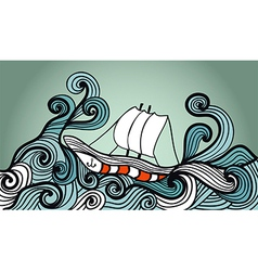 Sailing ship in the storm ocean vector