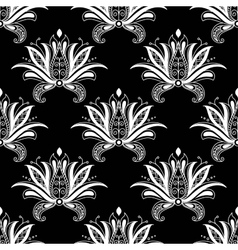 White colored floral arabesque seamless pattern vector