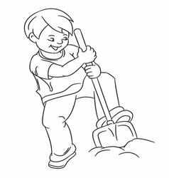 Gardening hobby kids boy outline vector